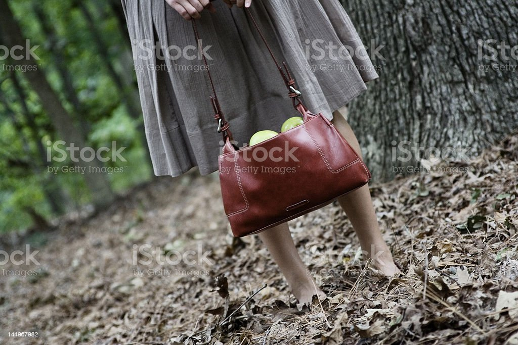 Girl with Red Purse in the Forest royalty-free stock photo