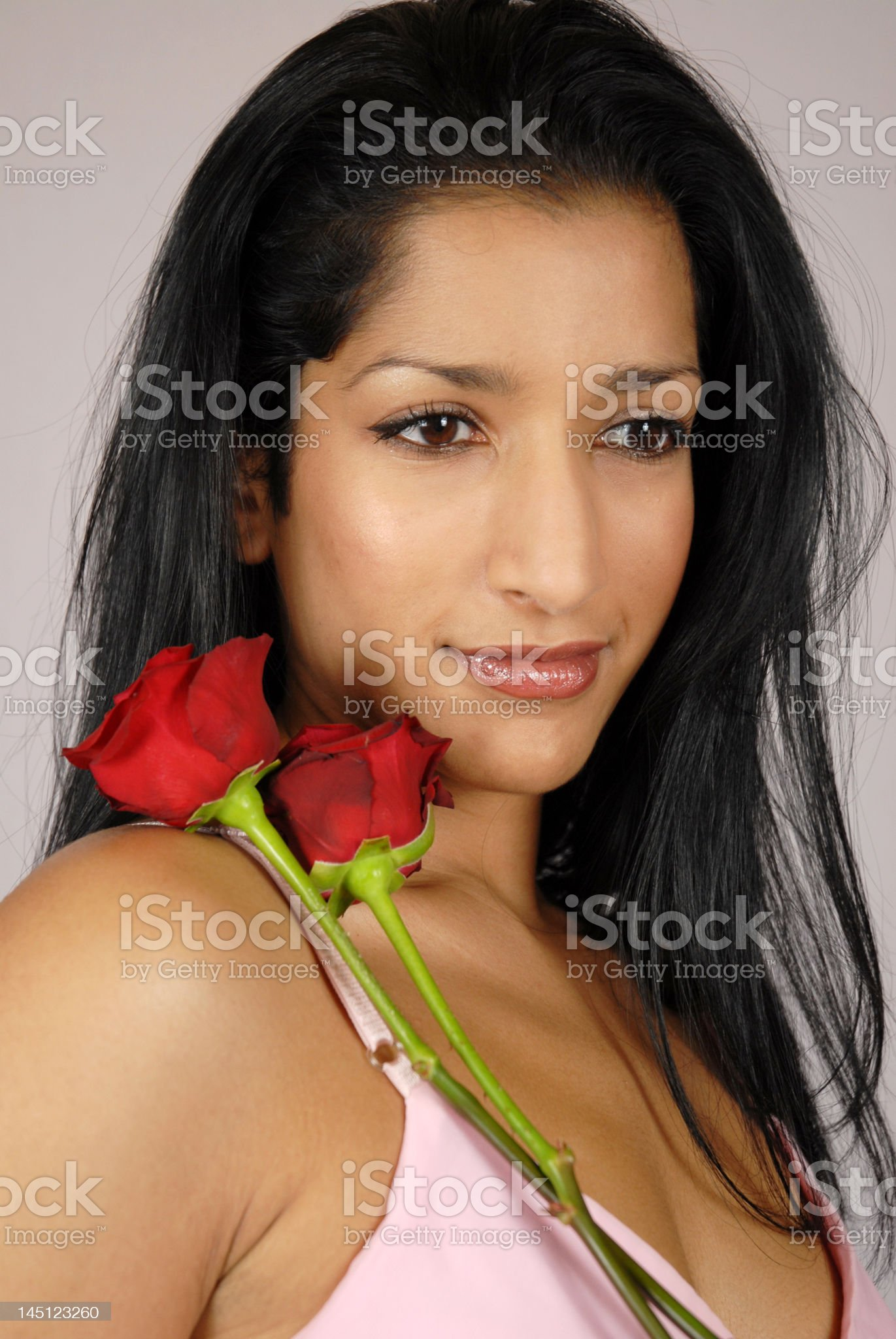 Girl with Red Roses royalty-free stock photo