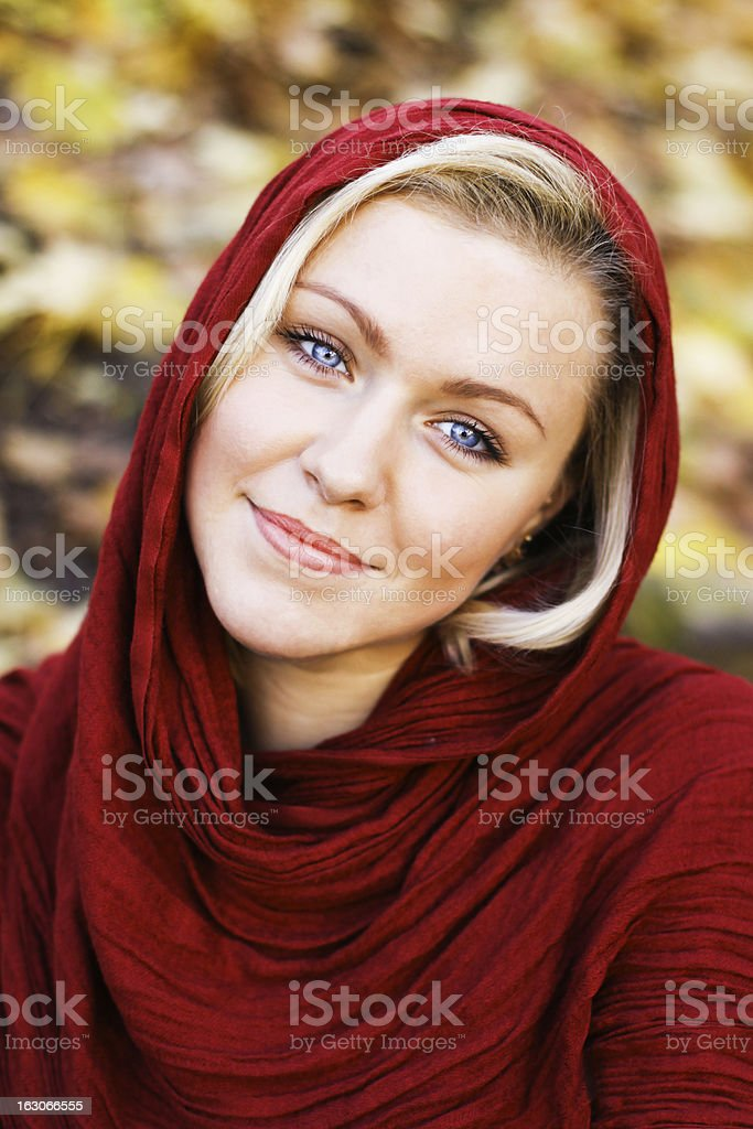 Girl with red scarf royalty-free stock photo