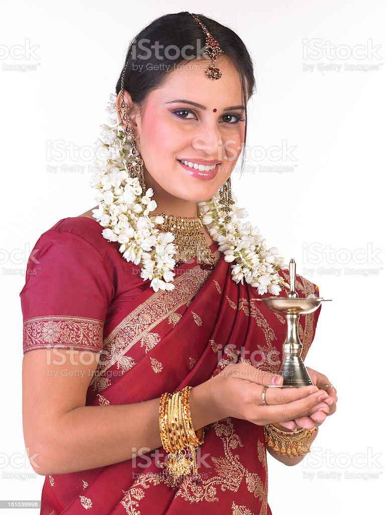 Girl with red silk sari stock photo