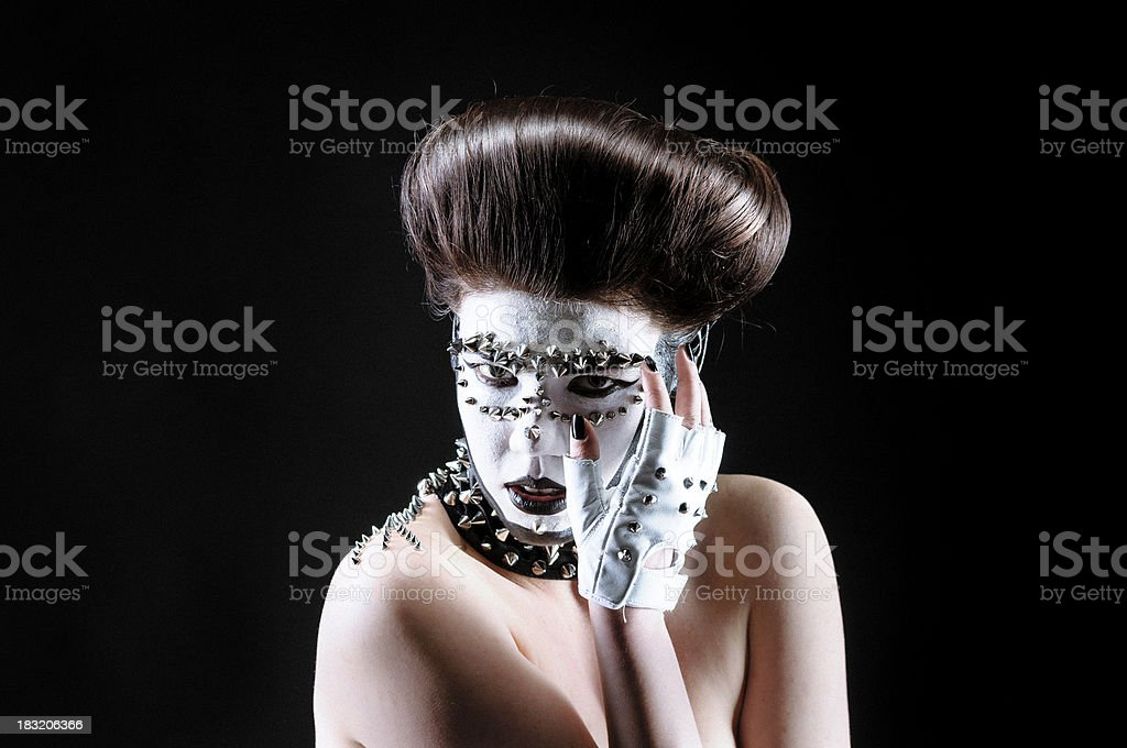 Girl with rivets and gloves royalty-free stock photo