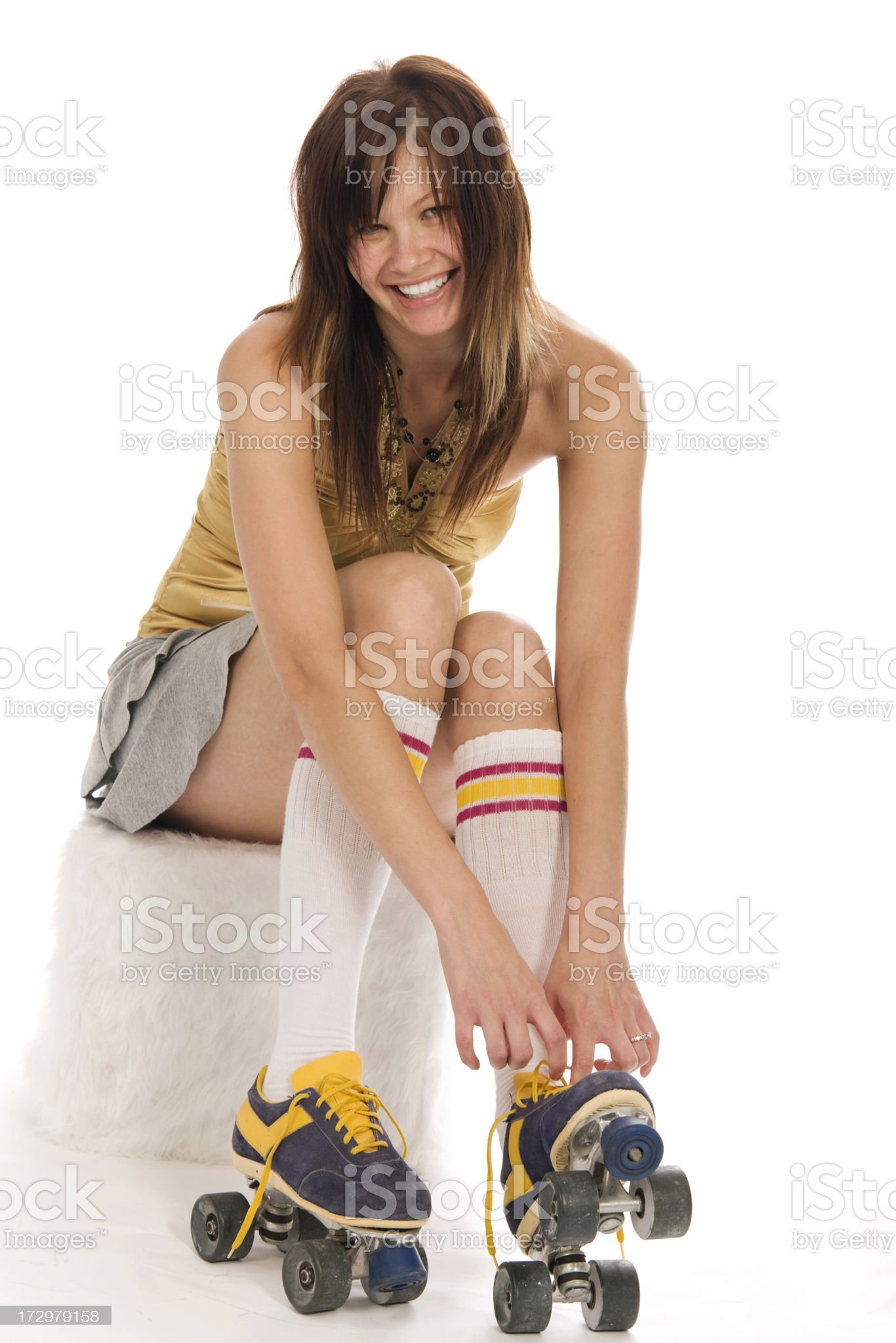 Girl With Roller Skates royalty-free stock photo