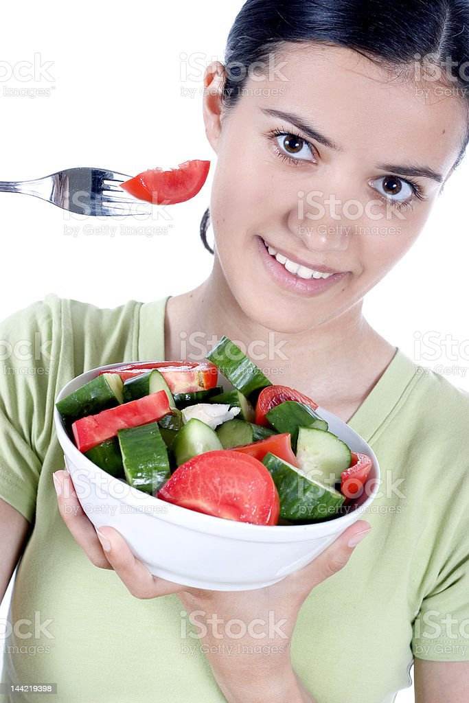 girl with salad royalty-free stock photo