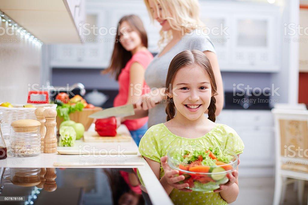 Girl with salad stock photo