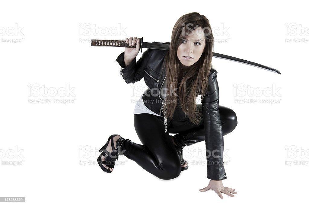 Girl with Samurai Sword stock photo