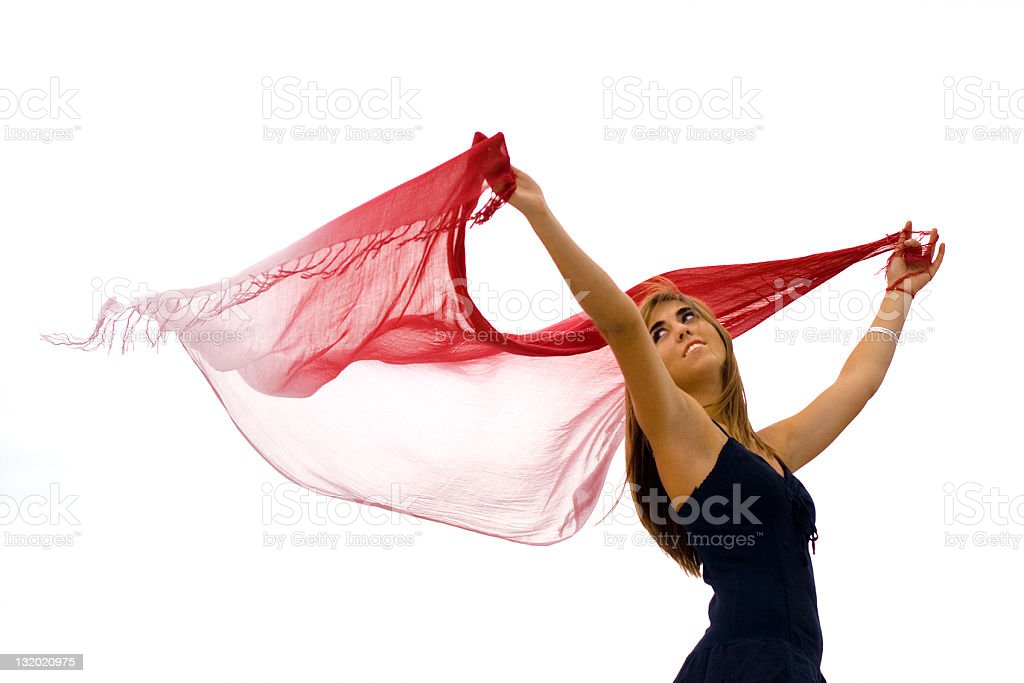 Girl with scarf stock photo