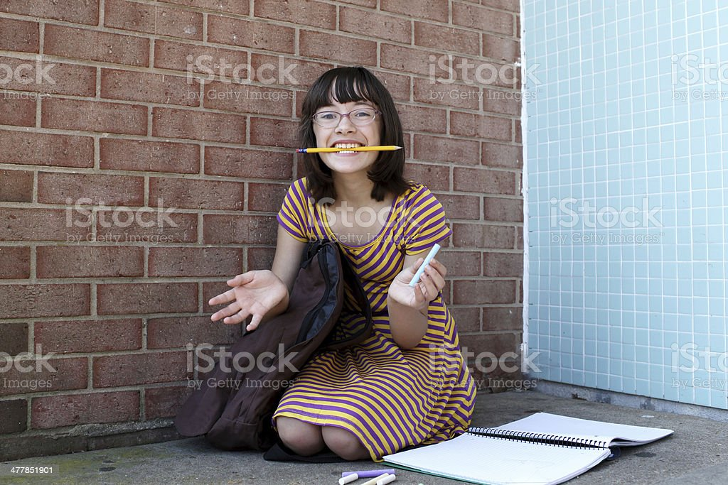 Girl with School Supplies royalty-free stock photo