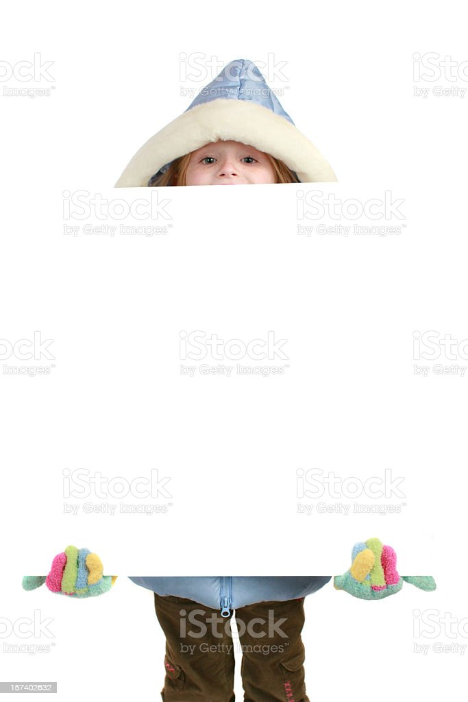 girl with sign in winter royalty-free stock photo