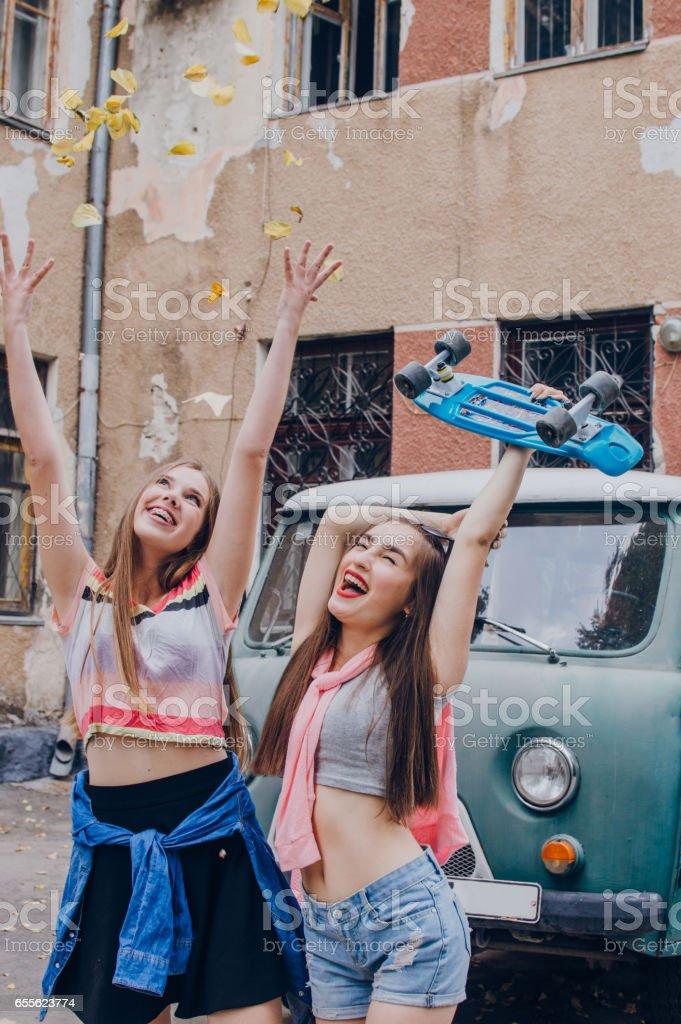 Girl with skates stock photo