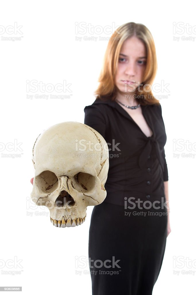 girl with skull royalty-free stock photo