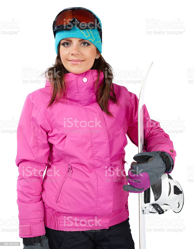 Girl with snow board royalty-free stock photo