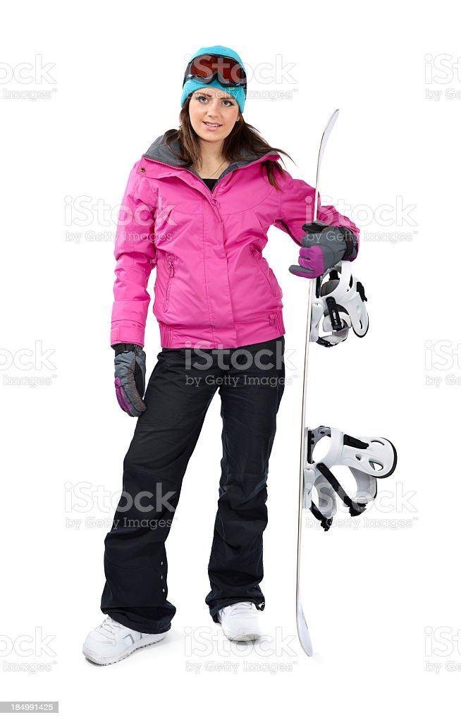 Girl with snow board stock photo