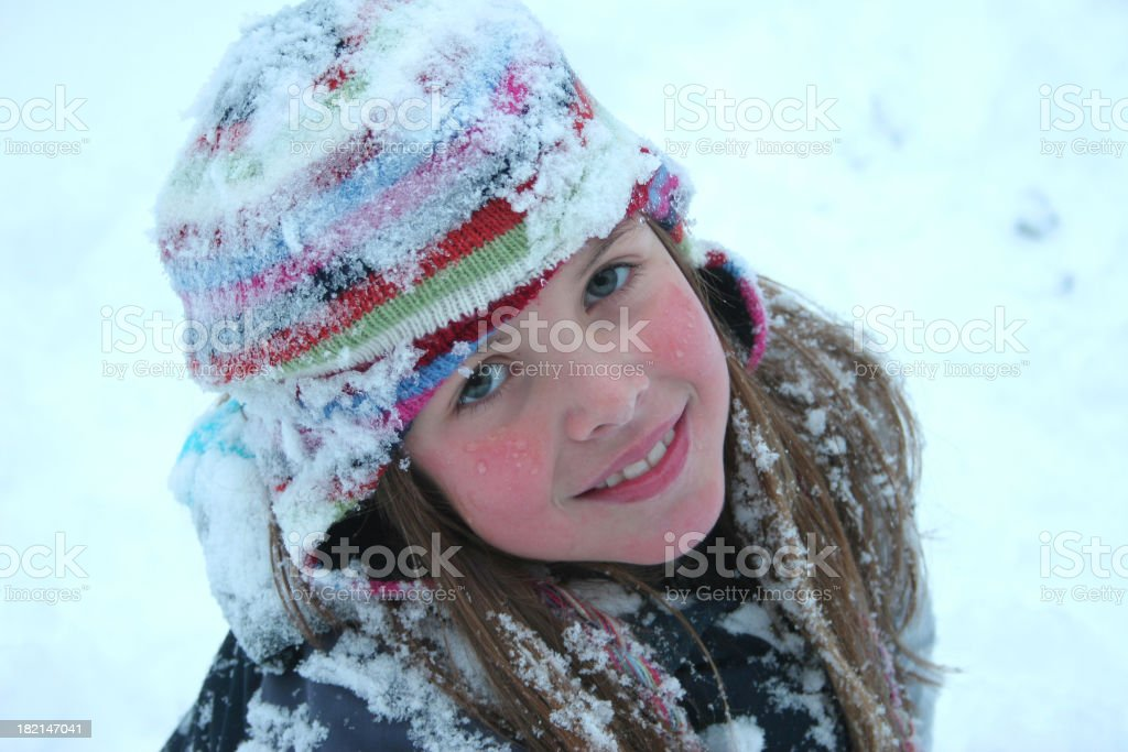 Girl with snow royalty-free stock photo