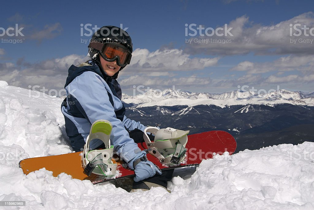 Girl with Snowboard royalty-free stock photo