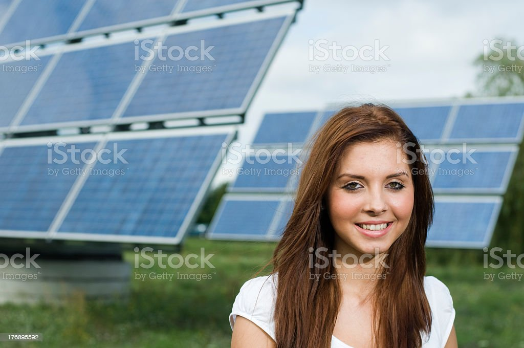 girl with solar panels royalty-free stock photo