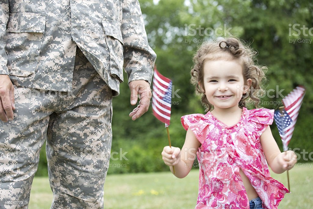 girl with soldier royalty-free stock photo