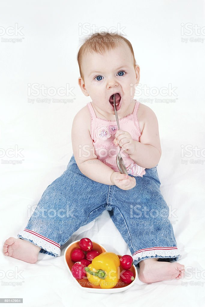 girl with spoon royalty-free stock photo