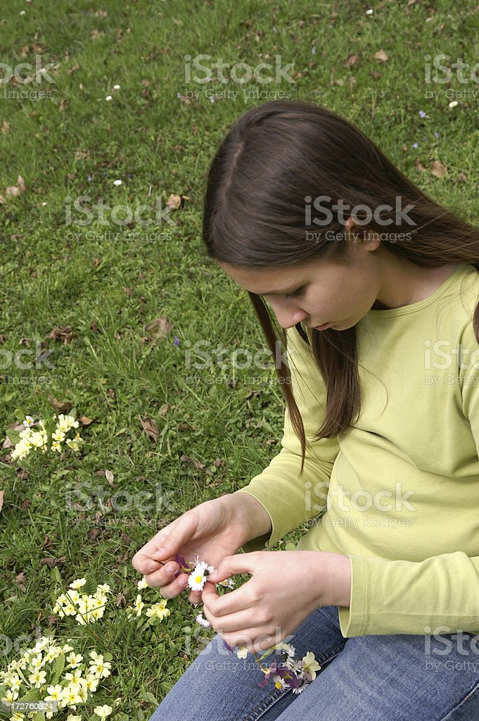 Girl with spring flovers stock photo