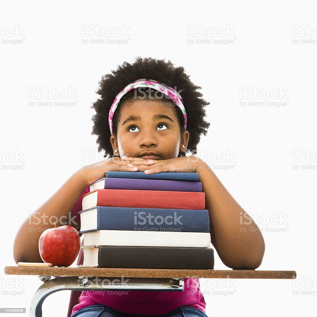 Girl with stack of books. royalty-free stock photo