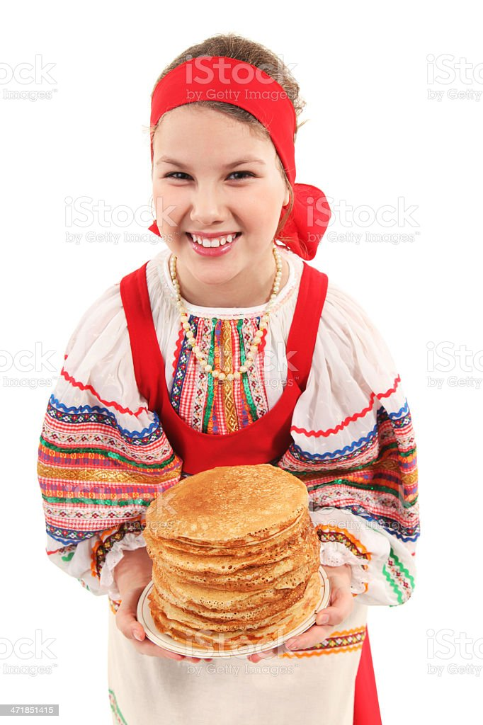 Girl with stack of pancakes royalty-free stock photo