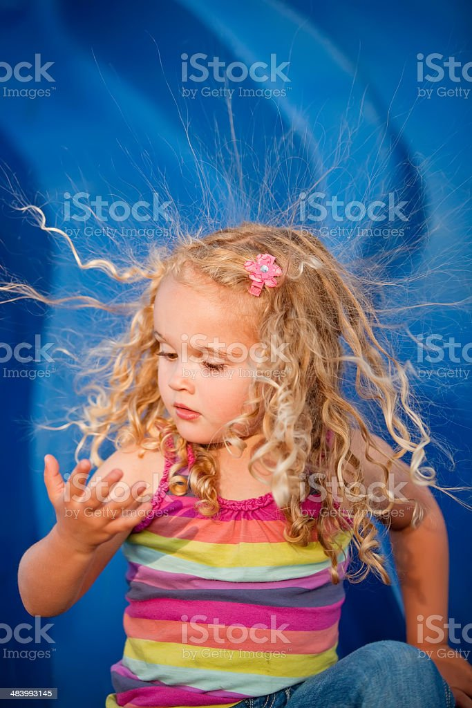 Girl With Static Hair stock photo