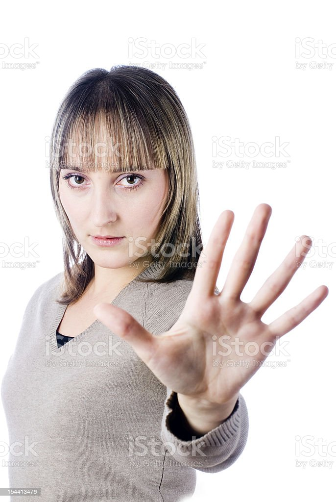 Girl with stop gesture stock photo