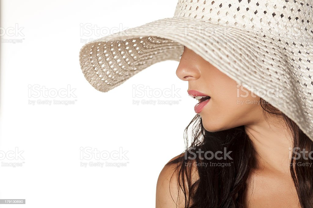 Girl with sun hat royalty-free stock photo