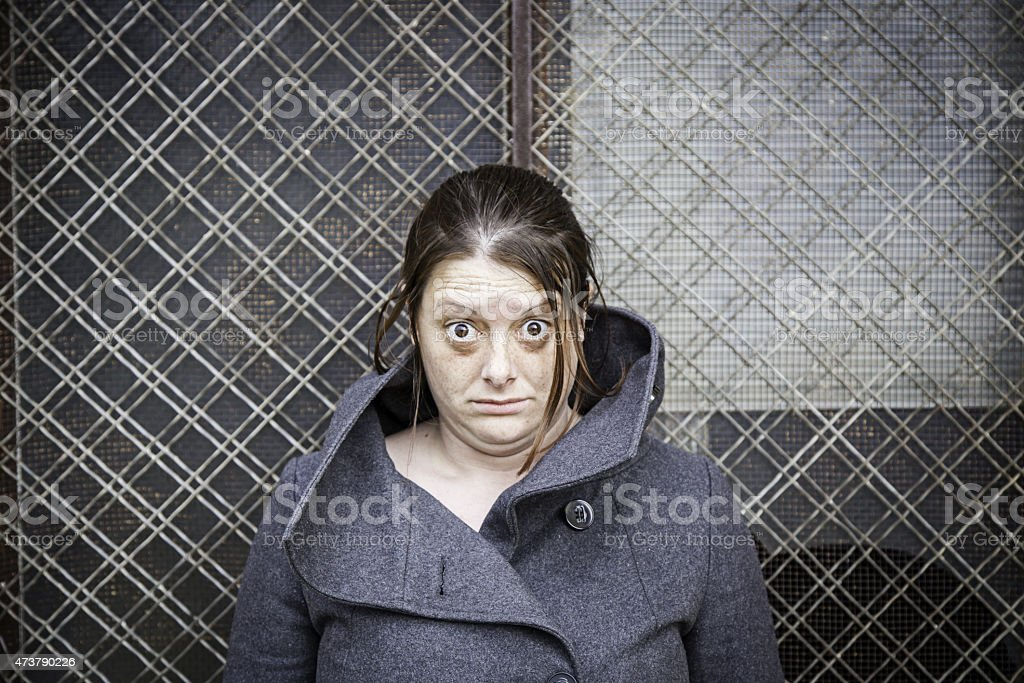 Girl with surprised eyes stock photo