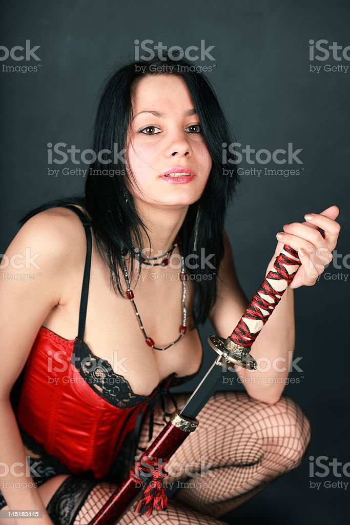 Girl with sword royalty-free stock photo