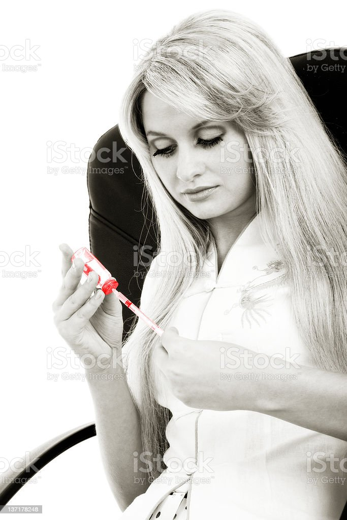 girl with syringe royalty-free stock photo