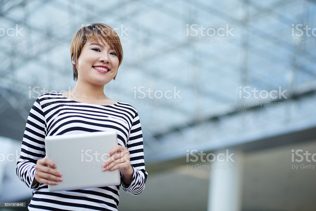 Girl with tablet computer stock photo