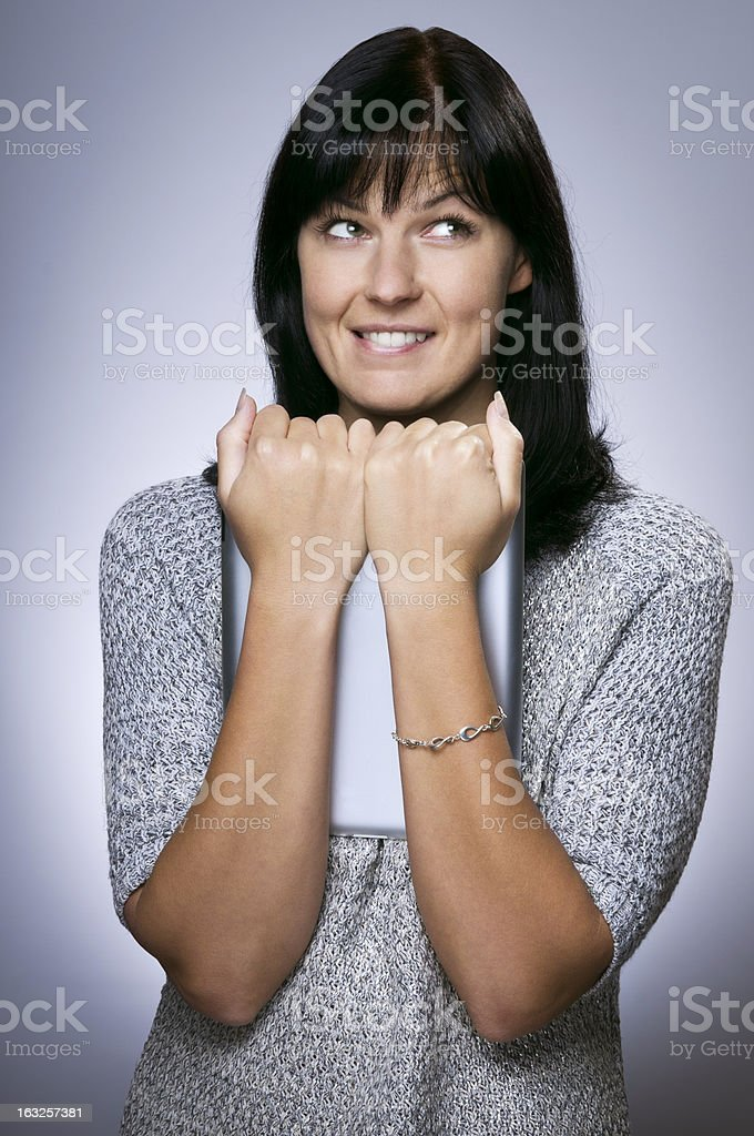 Girl with tablet royalty-free stock photo