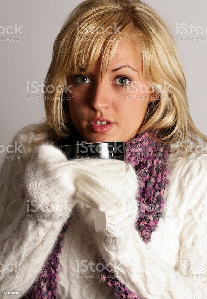 Girl with tea royalty-free stock photo
