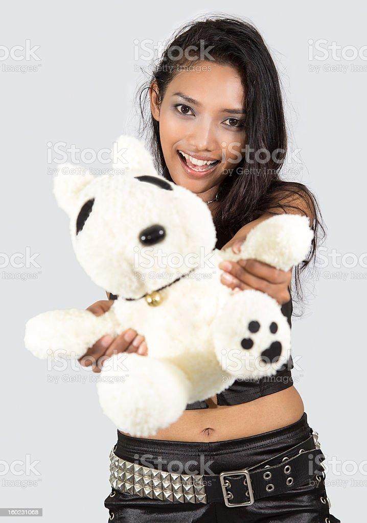 girl with teddy bear royalty-free stock photo