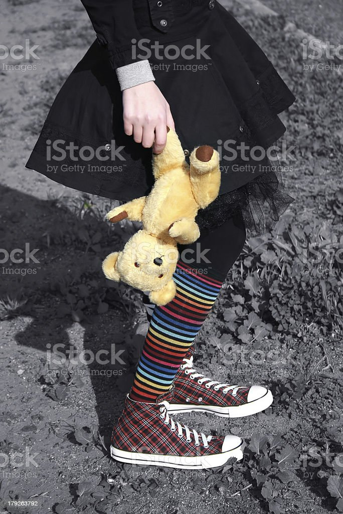 Girl with teddy bear royalty-free stock photo