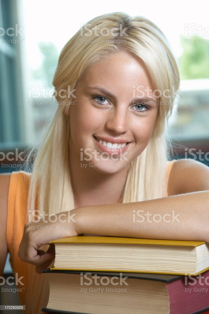 Girl with Textbooks royalty-free stock photo