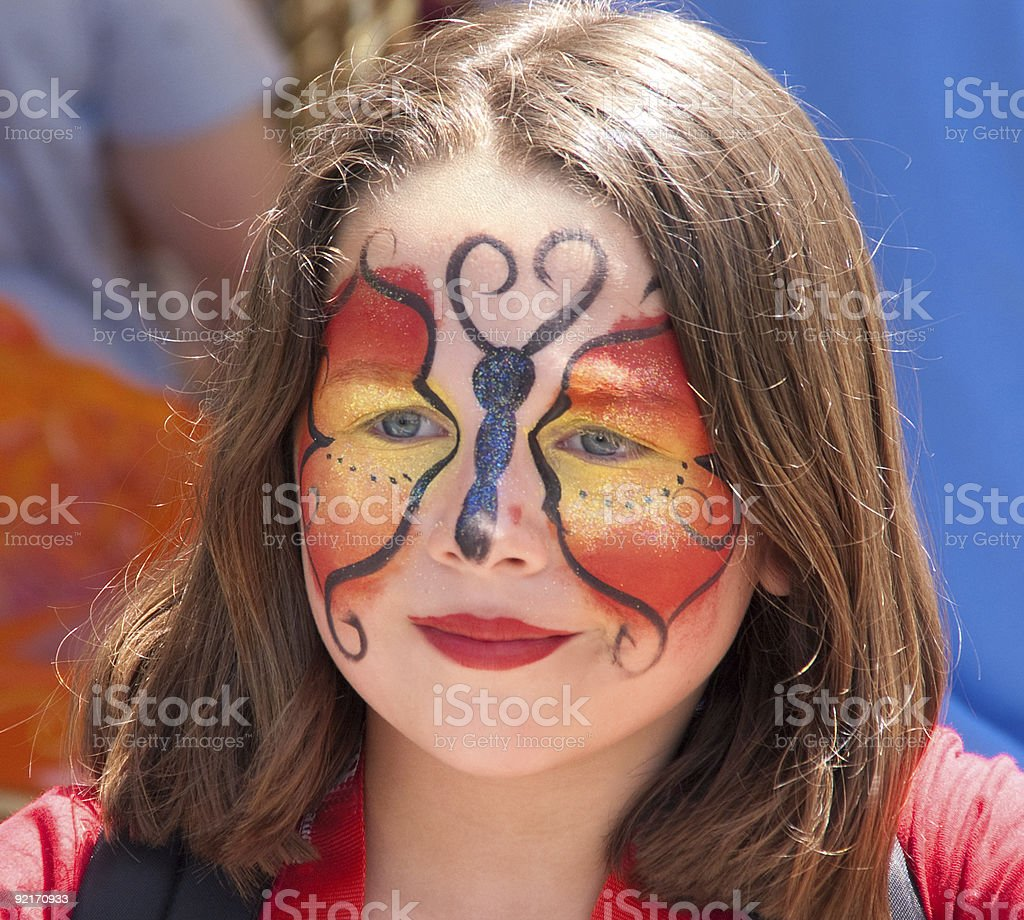 girl with the butterfly face royalty-free stock photo