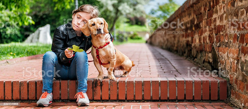 Girl with the dog sitting on the stairs stock photo