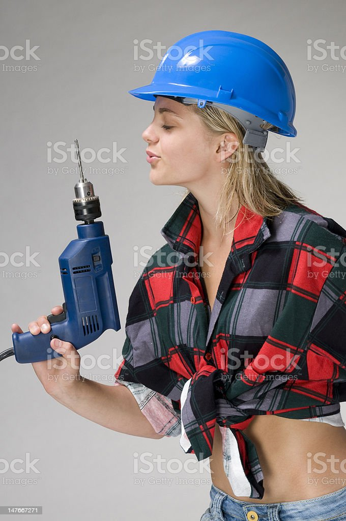 girl with the drill stock photo