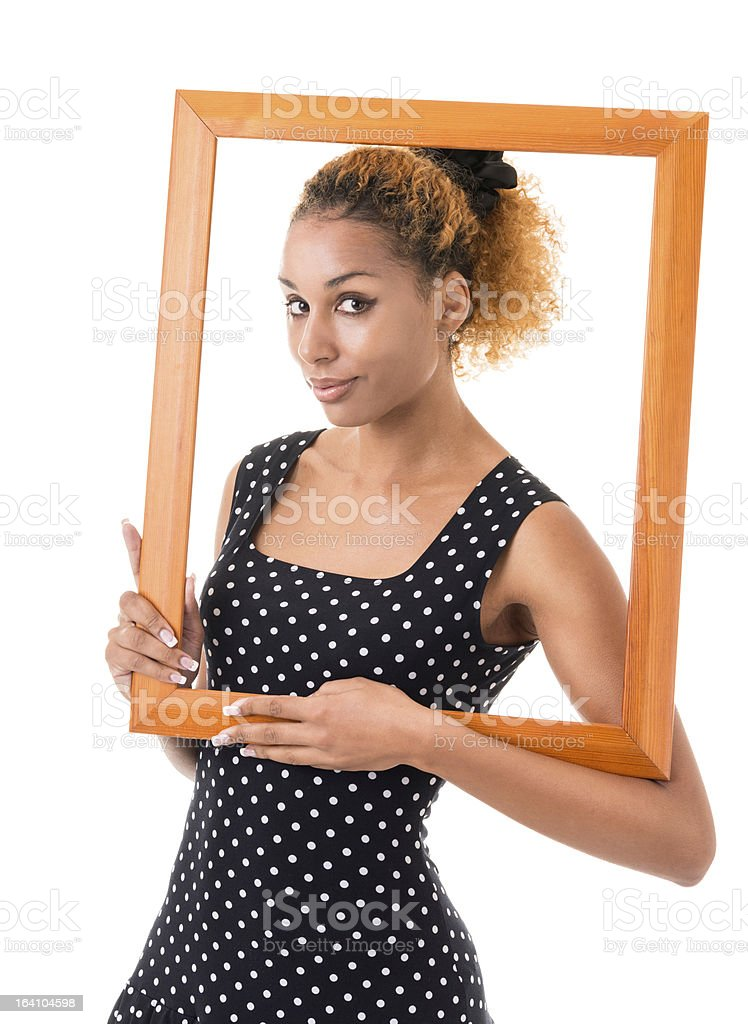 girl with the frame of  picture royalty-free stock photo