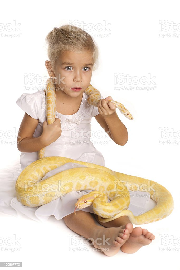 Girl with the Python stock photo