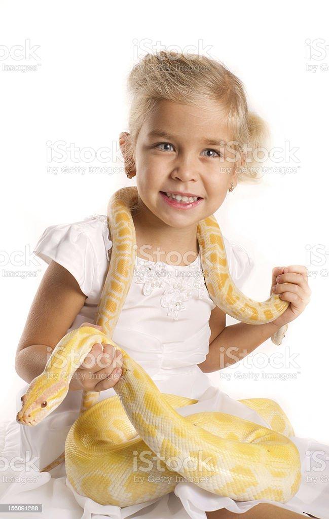 Girl with the Royal Python stock photo