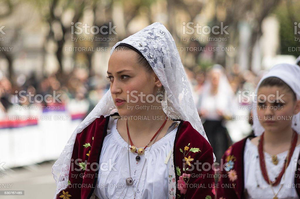 Girl with the Sardinian typical costumes stock photo