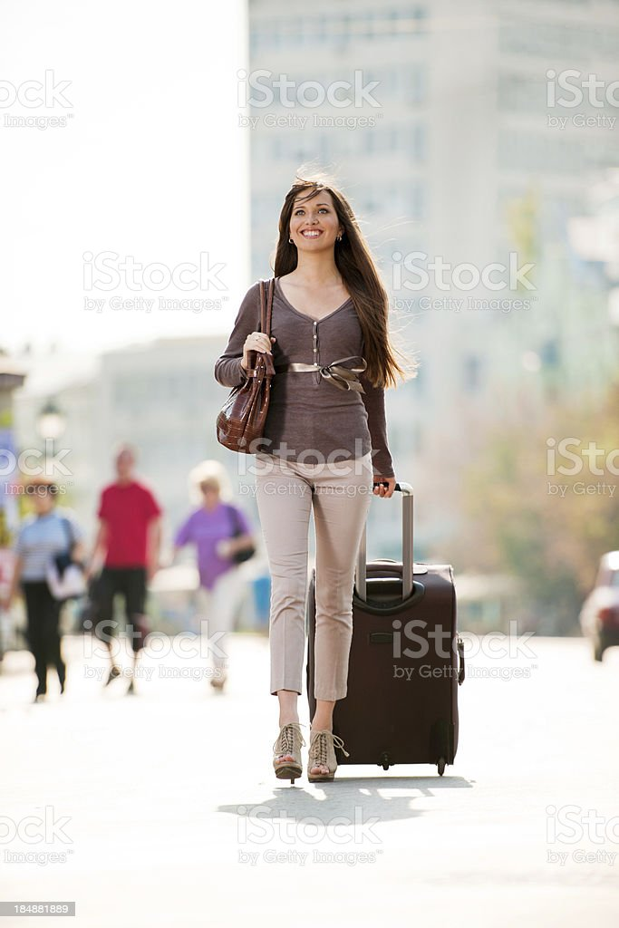 Girl with the suitcase. royalty-free stock photo