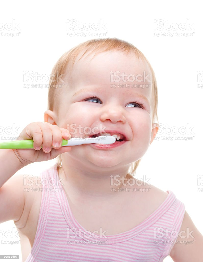 Girl with toothbrush  i stock photo