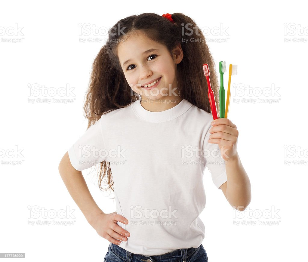 Girl with toothbrushes royalty-free stock photo