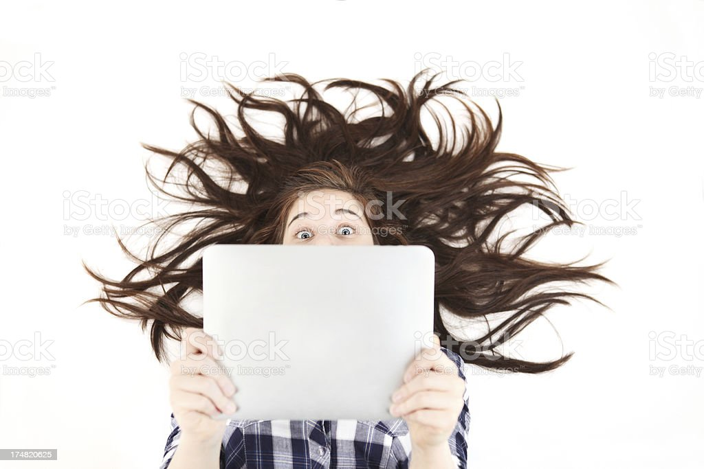 girl with touchpad royalty-free stock photo