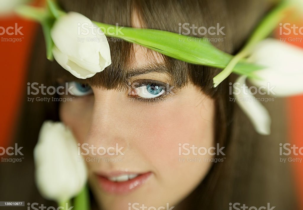 Girl With Tulip royalty-free stock photo