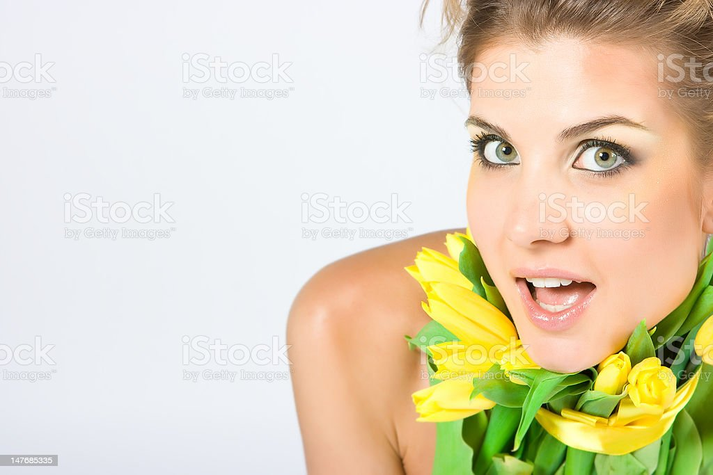 Girl with tulips royalty-free stock photo