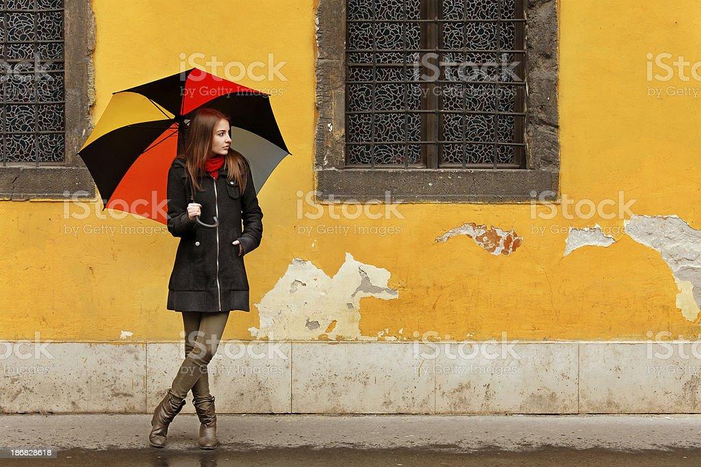 girl with umbrella on a rainy day royalty-free stock photo
